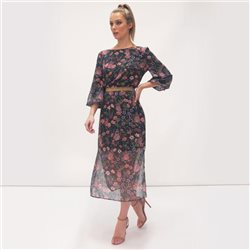 Fee G Floral Print Dress With Glitter Belt Pink