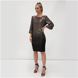 Fee G Sequined Dress Gold