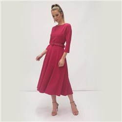 Fee G Belted Dress With Full Skirt Raspberry