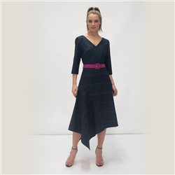 Fee G Check Print Dress With Belt Navy