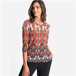 Olsen Print Top With Ribbed Neckline Pumpkin