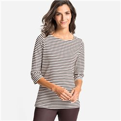 Olsen Boat Neck Top With Stripes Chocolate