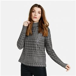Taifun High Neck Jumper With Check Print Grey