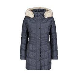 Betty Barclay Coat With Faux Fur Hood Blue