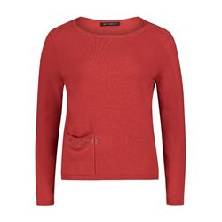 Betty Barclay Pocket Front Jumper With Sparkle Detail Red