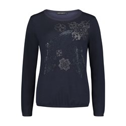 Betty Barclay Fine Knit Jumper With Gem Detail Navy