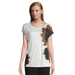 Betty & Co Graphic Print Cap Sleeve Top Cream