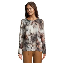 Betty & Co Print Blouse With Key Hole Neckline Grey