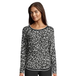 Betty & Co Round Neck Leo Print Top Silver
