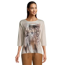 Betty & Co Graphic Print 3/4 Sleeve Top Cream
