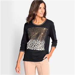 Olsen Placement Print Top With Studs Black