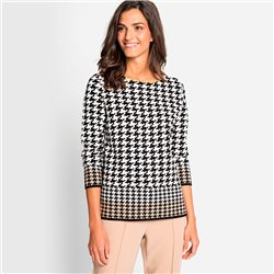 Olsen Houndstooth Jumper Black