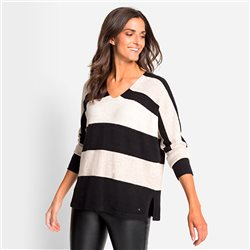 Olsen V Neck Jumper With Stripes Black