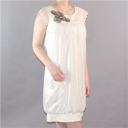 Fee G Shimmer Dress With Lace Sleeves