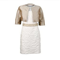 Linea Raffaelli Ivory Dress With Hazelnut Bolero