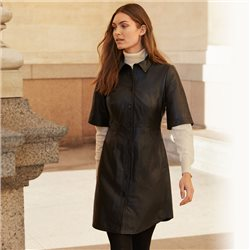 Part Two Edyta Leather Shirt Dress Black