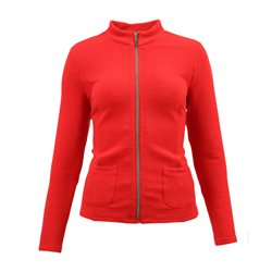Lebek Textured Zip Jacket Red