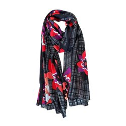 Lebek Flower And Dot Print Scarf Red