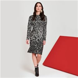 Lebek Animal Print Knitted Dress Grey