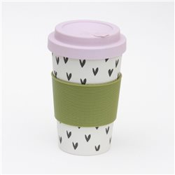 Caroline Gardner Hearts Eco Bamboo Coffee Cup White