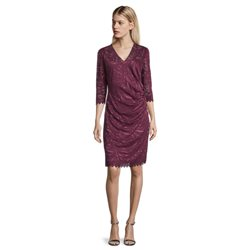 Vera Mont V Neck Dress With Scallop Sleeves Plum
