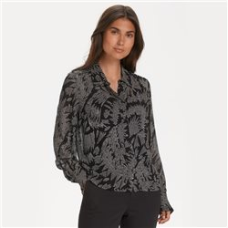Part Two Esma Zig Zag Print Shirt Black