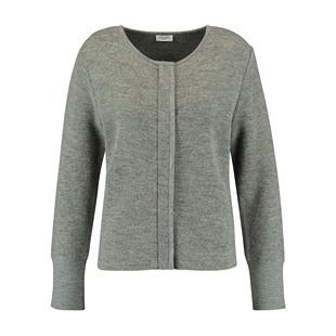 Concealed Zip Wool Cardigan Jacket Grey
