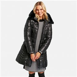 Taifun Waisted Quilted Coat With Gloss Effect Black