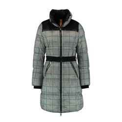 Taifun Checked Coat With Belted Waist Black