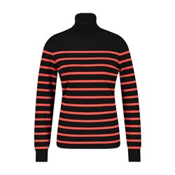 Striped Polo Neck Red