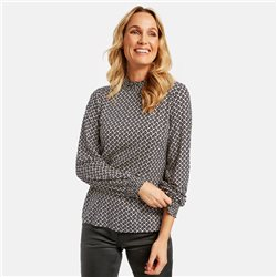 Taifun Long Sleeve Top With Elasticated Neckline Black