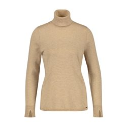 Ribbed Neck Polo Neck Beige
