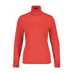 Taifun Ribbed Neck Polo Neck Red