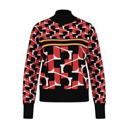 Taifun Geometric High Neck Jumper Red