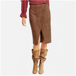 Taifun Midi Skirt With Imitation Suede Brown