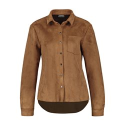 Taifun Suede Look Button Shirt Brown
