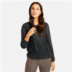 Taifun Blouse Shirt With All Over Dots Print Black
