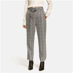 Taifun Checked Trouser With Tie Waistband Black