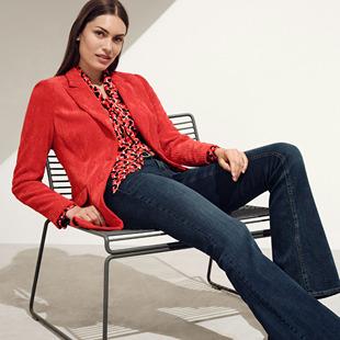 Velvety Corduroy Blazer Red