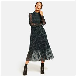 Taifun Soft Mesh Midi Dress Black