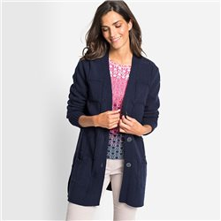 Olsen Cardigan With Patch Pockets Navy
