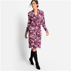 Olsen Printed Dress With Tie Collar Detail Raspberry