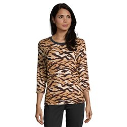 Betty Barclay Crew Neck Animal Print Top Camel