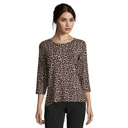 Betty Barclay Animal Print Round Neck 3/4 Sleeve Top Black