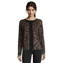 Betty Barclay Leo Print Fine Knit Cardigan Black