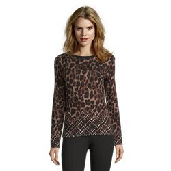 Betty Barclay Fine Knit Jumper With Animal And Check Detail Black
