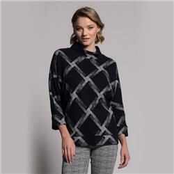 Picadilly Check Jumper With High Neck Black
