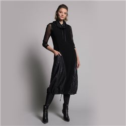 Picadilly Dress With Leather Look Detail Black