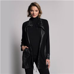 Picadilly Jacket With Leather Look Detail Black