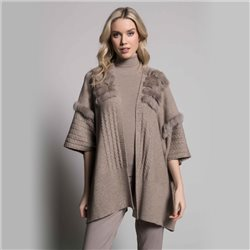 Picadilly Wrap With Faux Fur Trim Taupe